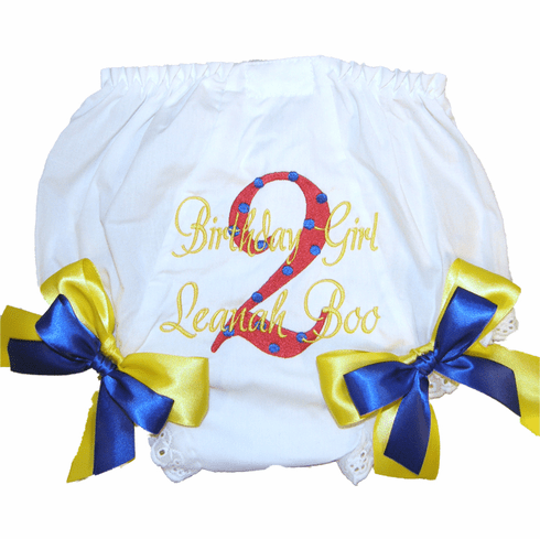 Personalized Birthday Diaper Cover Bloomers Panties Primary Colors