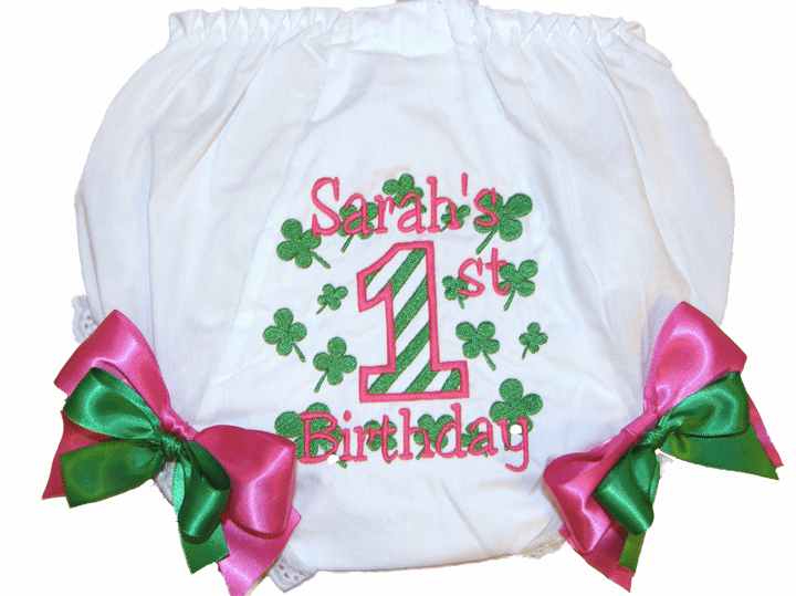 Personalized Birthday Diaper Cover Bloomers Panties Shamrocks