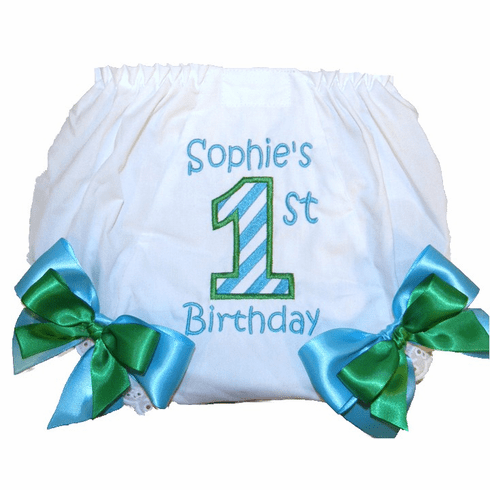 Personalized Birthday Diaper Cover Bloomers Panties Turquoise & Green
