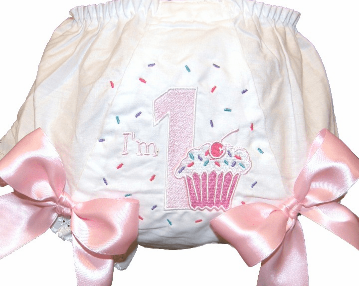 Personalized Birthday Diaper Cover Bloomers Pastel Cupcake Design
