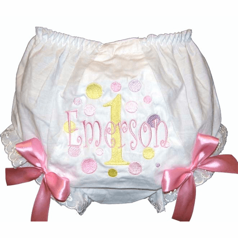 Personalized Birthday Diaper Cover Bloomers Pastel Dots