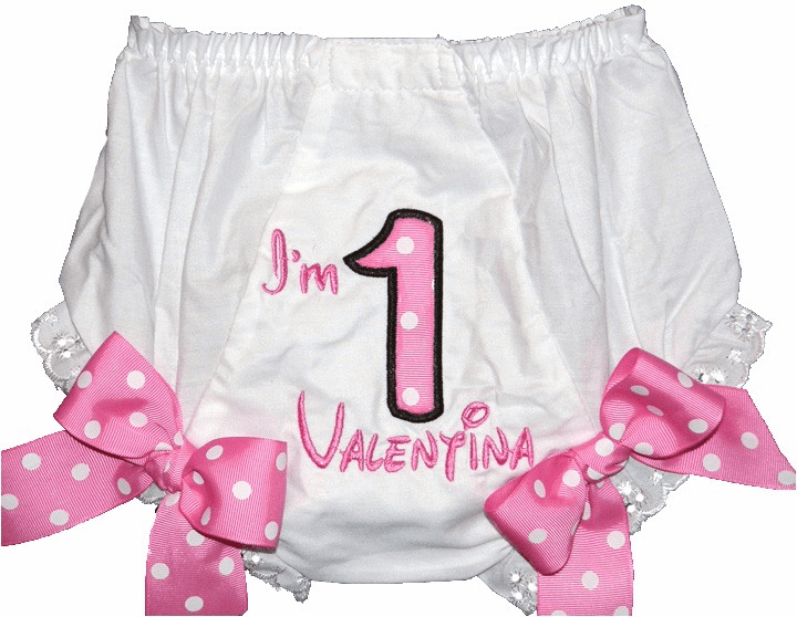 Personalized Birthday Diaper Cover Bloomers Pink dots
