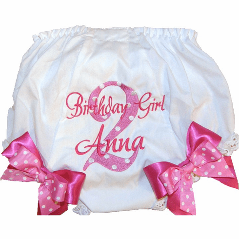 Personalized Birthday Diaper Cover Bloomers Pink on Pink - Too Cute!