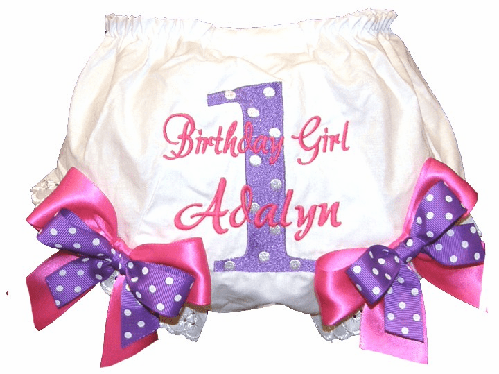 Personalized Birthday Diaper Cover Bloomers Purple Dot Hot Pink