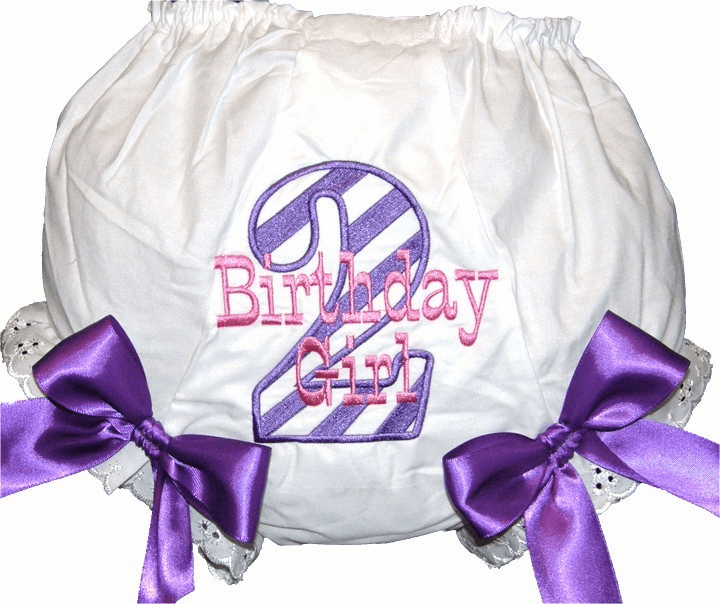 Personalized Birthday Diaper Cover Bloomers Purple Stripes