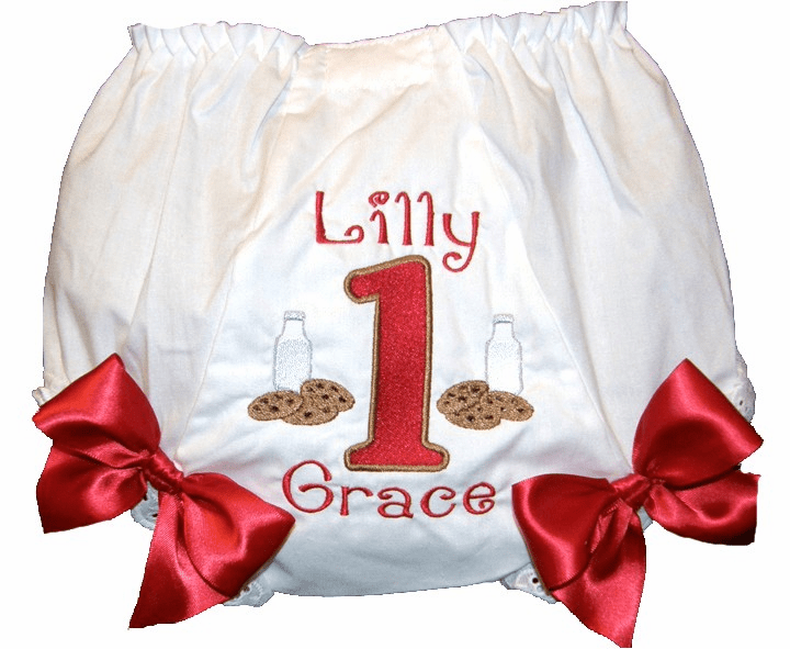 Personalized Birthday Diaper Cover Bloomers Red Milk & Cookies