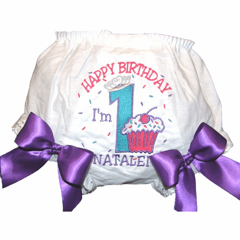 Personalized Birthday Diaper Cover Bloomers Turquoise Cupcake Design