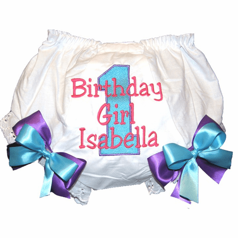 Personalized Birthday Diaper Cover Bloomers Turquoise Hot Pink