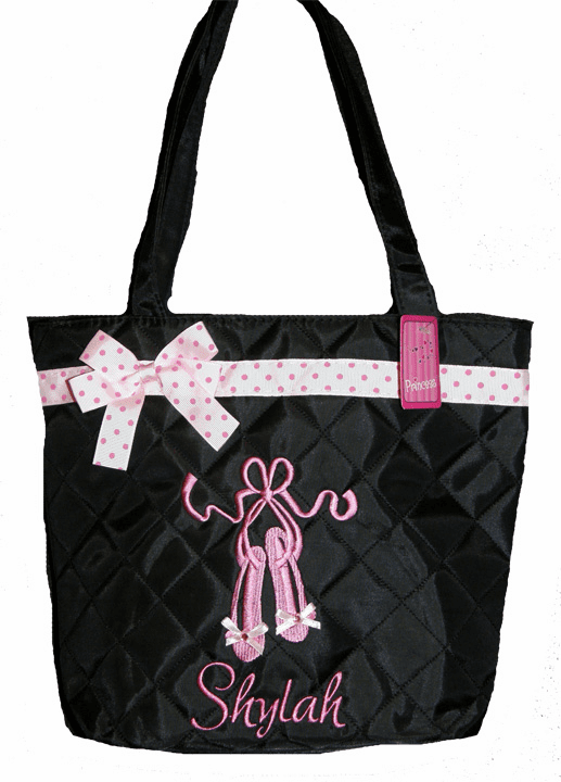 Personalized Black Ballet Bag Embroidered Pink Ballet Slipper Tote Dance Bag Personalize Me