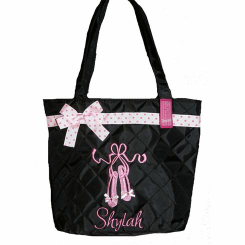 Personalized Black Ballet Bag Embroidered Pink Ballet Slipper Tote Dance Bag