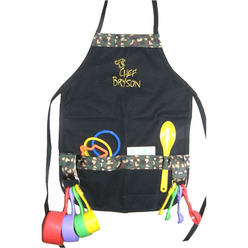 Personalized Black Boy's or Girls Camouflage Trim Child's Cooking Apron Set