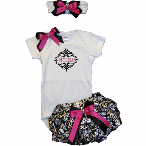 Personalized Black Damask and Hot Pink Onezie & Bloomer Outfit Set