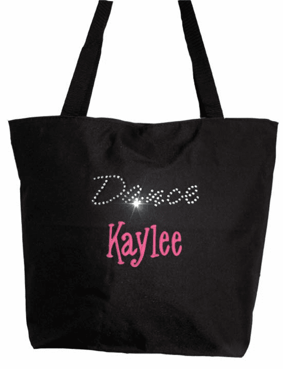 Personalized Black ECO Recycled Poly Tote Bag Rhinestone Bling Dance