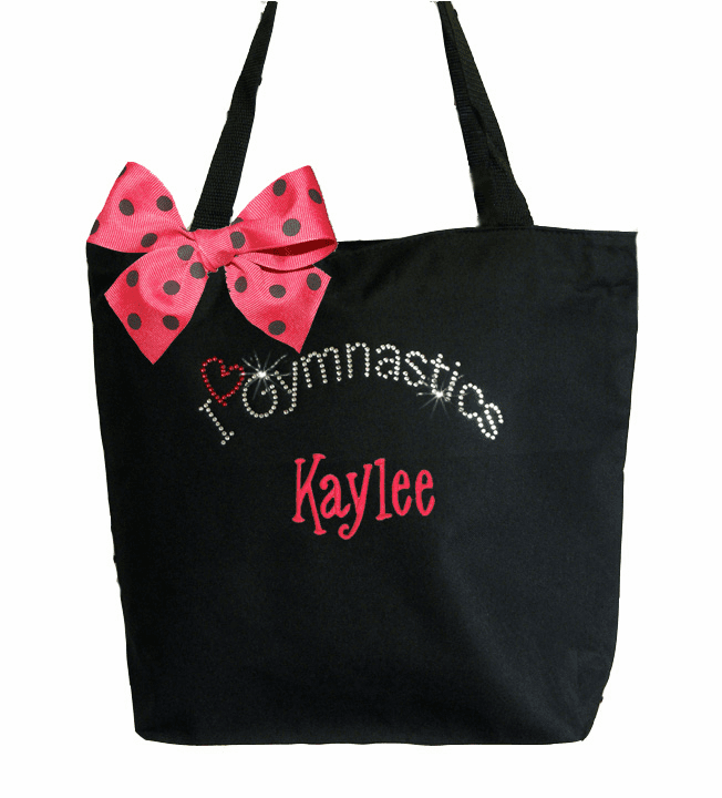 Personalized Black ECO Recycled Poly Tote Bag Rhinestone Bling Gymnastics