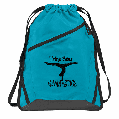 Personalized Black, Grey and Turquoise Gymnastics Cinch Pack Backpack