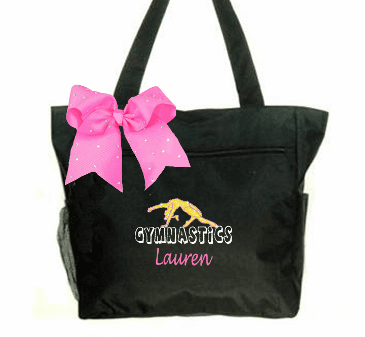 Personalized Black Gymnastics Tote Gold Glitter Gymnast Embroidered Design