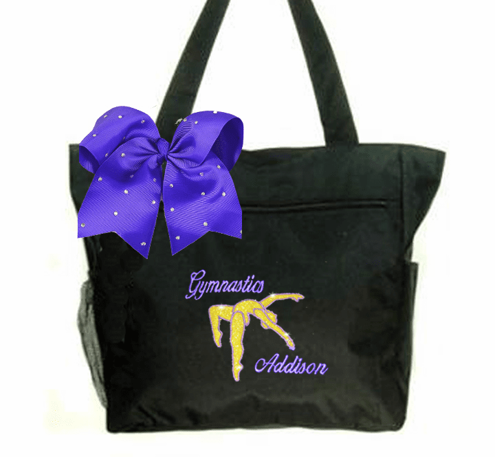 Personalized Black Gymnastics Tote Gold Glitter Gymnast Embroidered Design Purple Bow