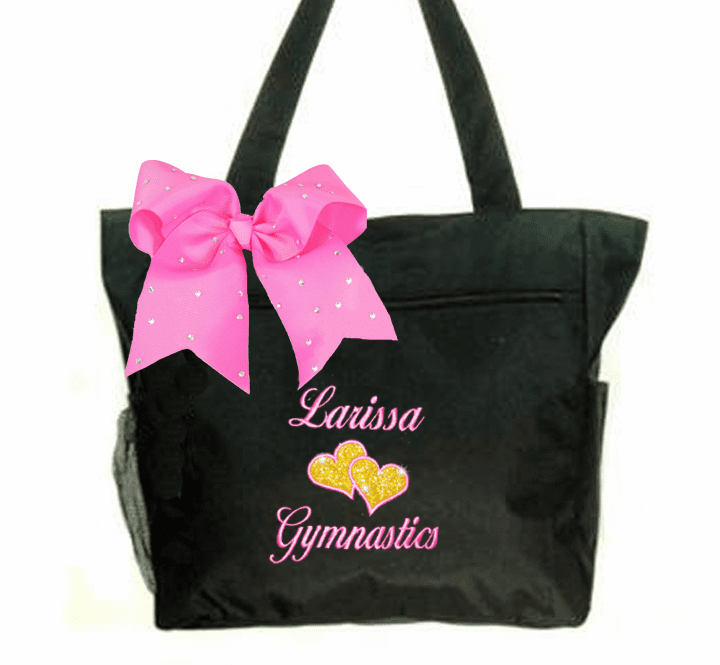 Personalized Black Gymnastics Tote Gold Glitter Hearts Embroidered Design