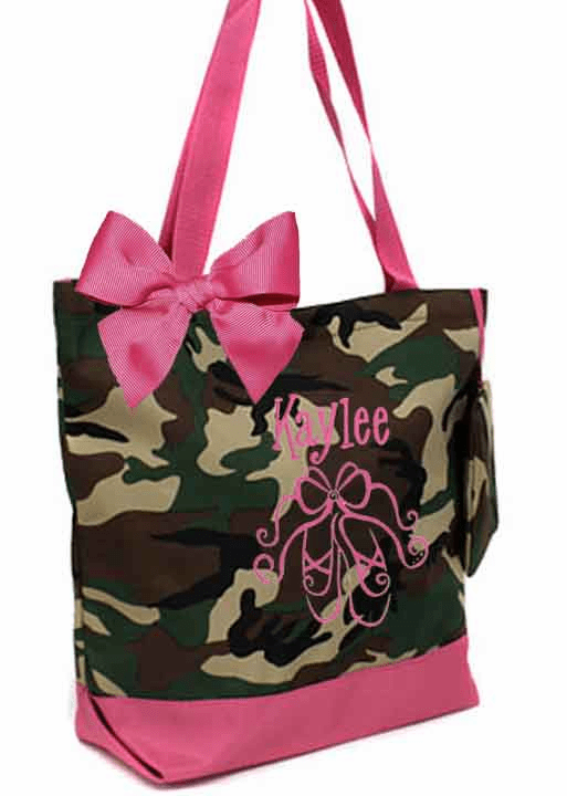 Personalized Black & Hot Pink Camouflage Tote Bag Ballet Dance Gymnastics, Acro