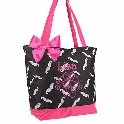 Personalized Black & Hot Pink Mustache Tote Bag Ballet Dance Gymnastics, Acro