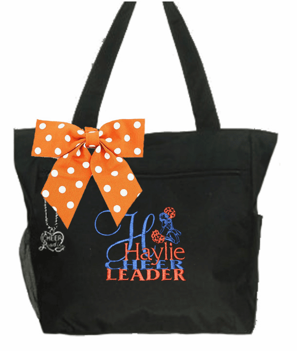 Personalized Black I Love Cheer Leading Tote Embroidered Design