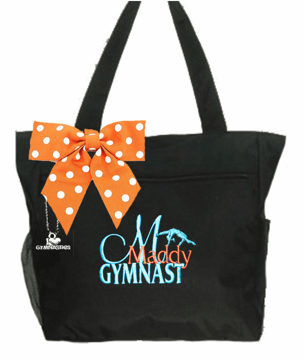 Personalized Black I Love Gymnastics Tote Backflip Embroidered Design