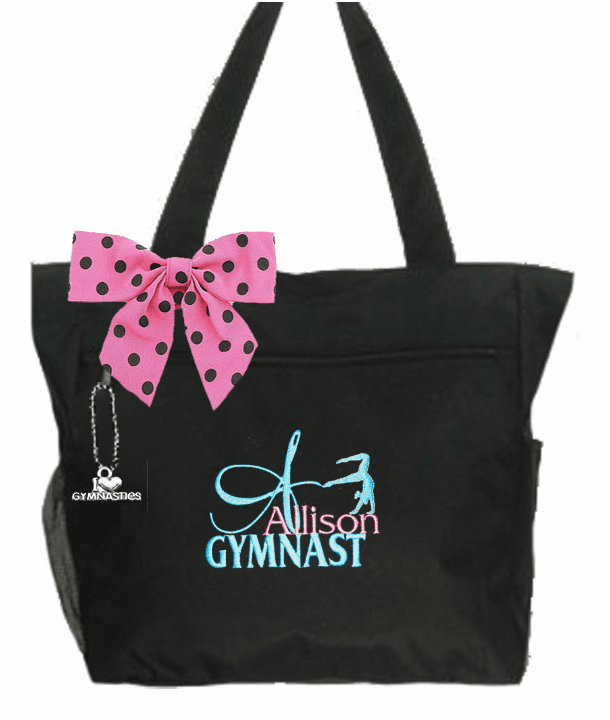 Personalized Black I Love Gymnastics Tote Handstand Embroidered Design