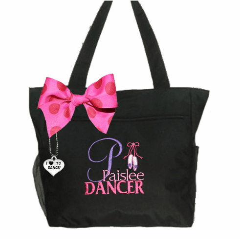 Personalized Black I Love To Dance Tote Ballet Slippers Design