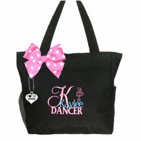 Personalized Black I Love To Dance Tote Dancer Embroidered Design