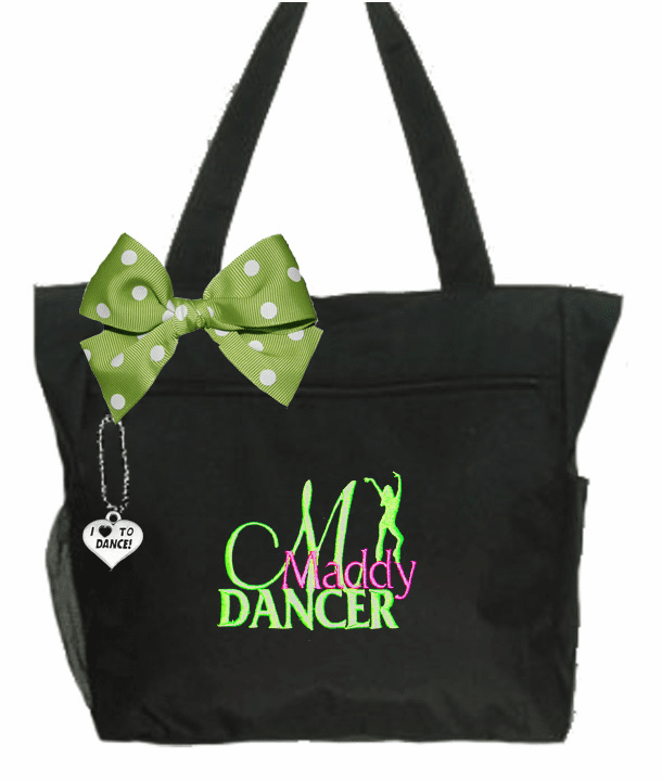 Personalized Black I Love To Dance Tote Jazz Hip Hop Embroidered Design