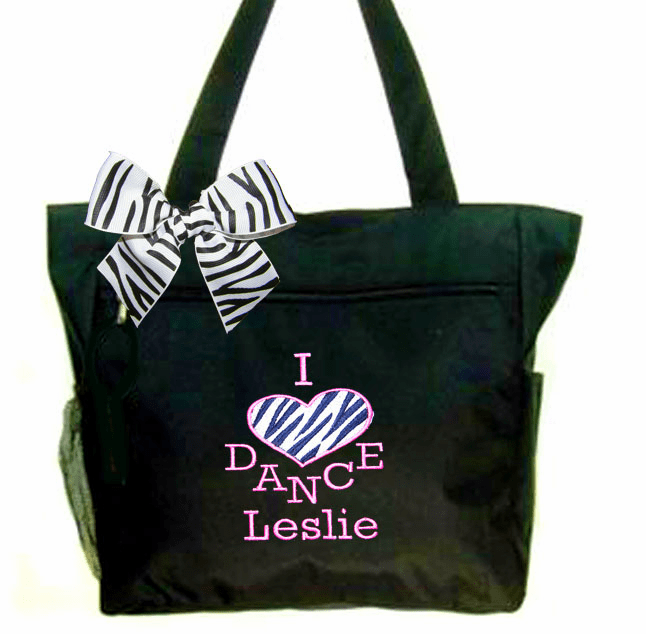 "Personalized Black.""I Love To Dance"" Tote Zebra & Pink Embroidered Design"
