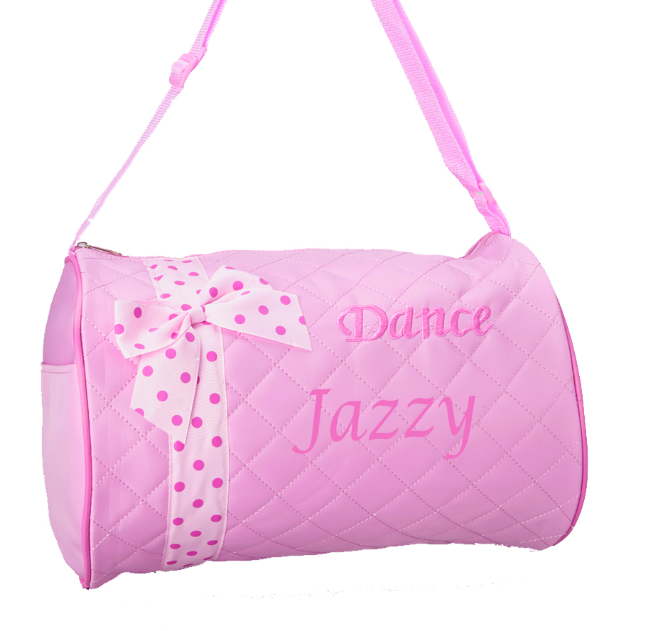 1328ed297b7a PERSONALIZED Dance Ballet Print Duffel Pink Quilted Gym Bag Tote