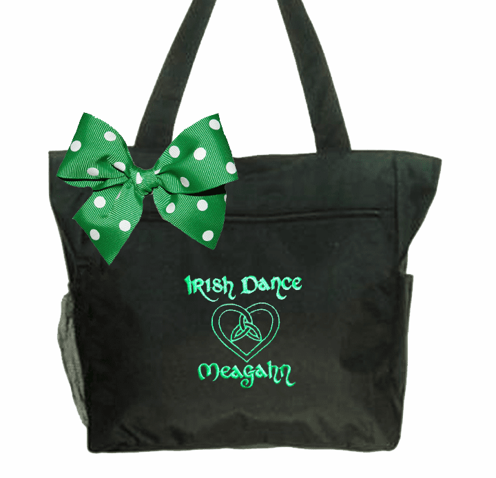 Personalized Embroidered Black Tote with Irish Step Dance Design