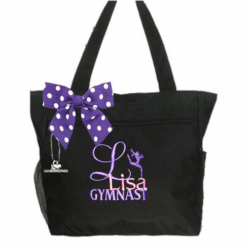 Personalized Black I Love To Gymnastics Tote Leap Embroidered Design