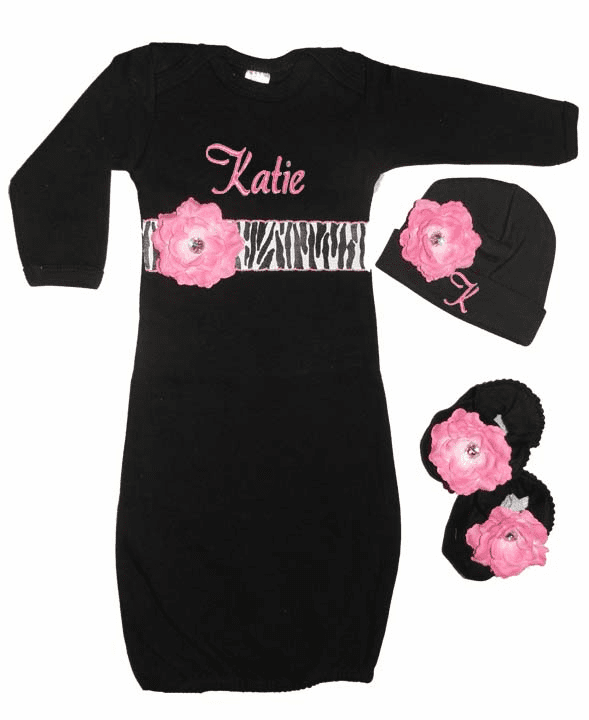 Personalized Black Infant Gown, Hat & Booties Set Zebra & Pink Flowers & Crystals