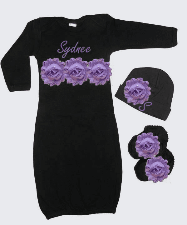 Personalized Black Infant Gown & Hat Set Lavender Shabby Chic