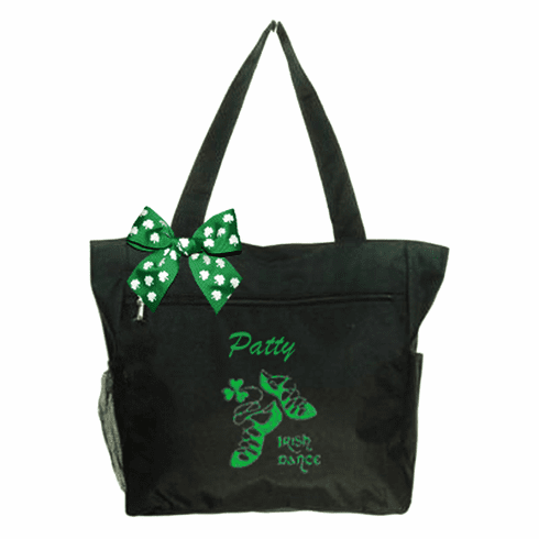 Personalized Black Irish Dance Tote Green Embroidered Design & Shamrock Bow