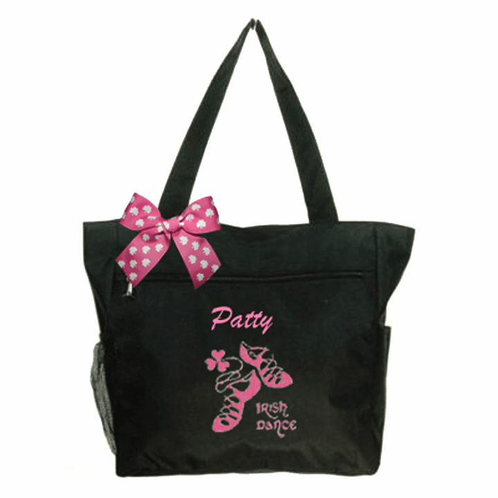 Personalized Black Irish Dance Tote Hot Pink Embroidered Design & Shamrock Bow