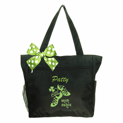 Personalized Black Irish Dance Tote Lime Green Embroidered Design & Shamrock Bow