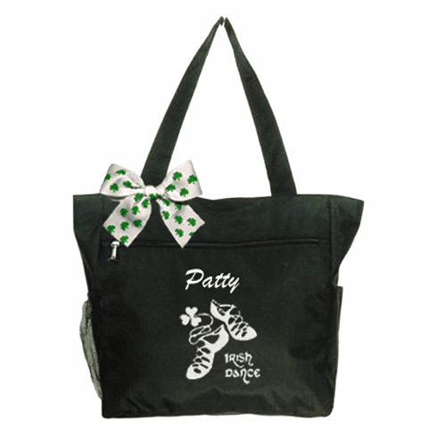 Personalized Black Irish Dance Tote White Embroidered Design & Shamrock Bow