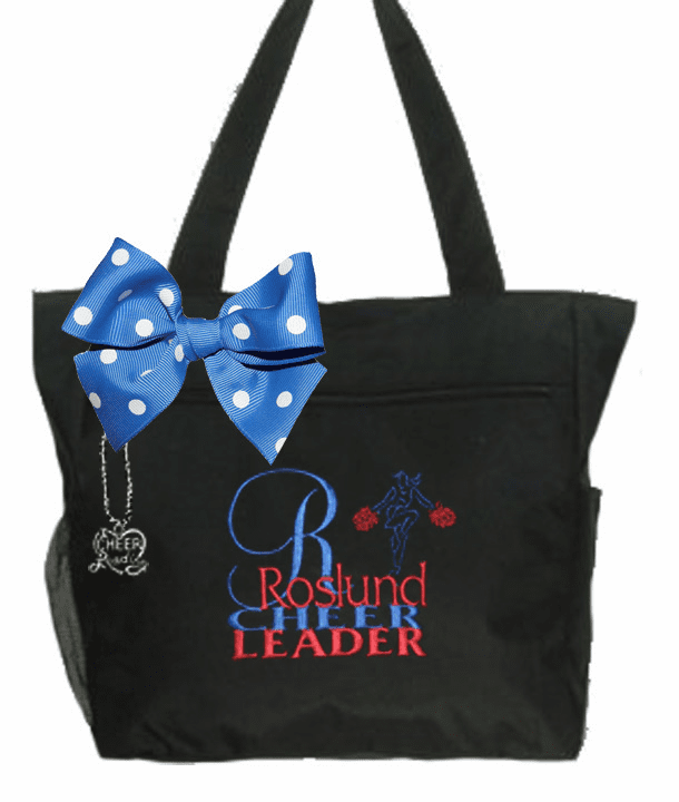 Personalized Black Large Initial with Charm and Bow Cheer Bag