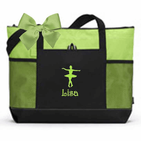 Personalized Black & Lime Tote Bag w/Bow Dance Gymnastics Tap Jazz Cheer