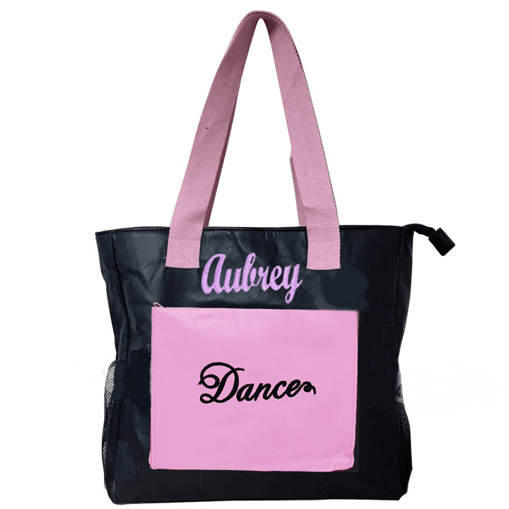 Personalized Black & Pink Large Faux Leather Embroidered Dance Tote / Bag