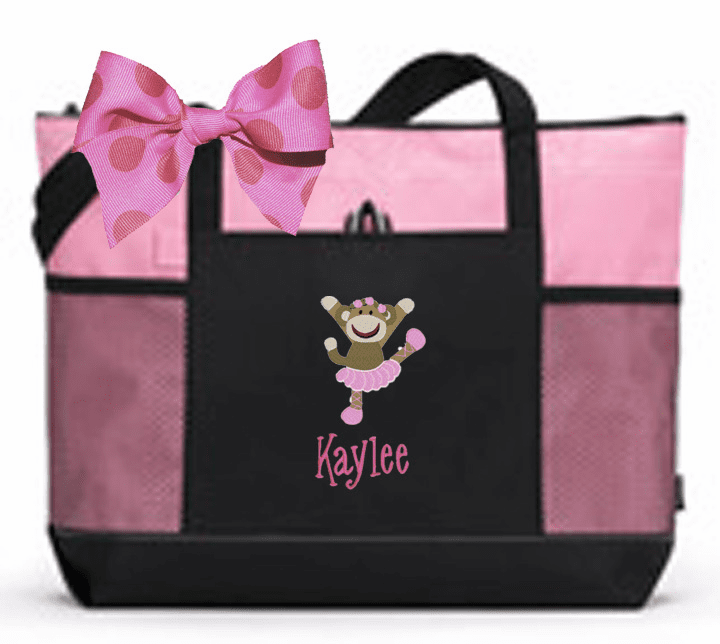 Personalized Black & Pink Tote Bag w/Bow Sock Monkey Dance