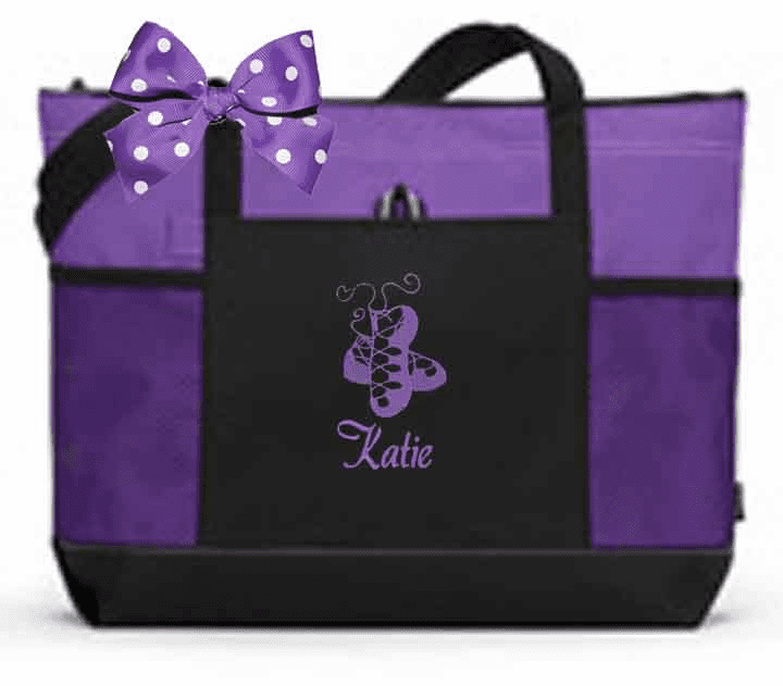 Personalized Color Block Tote Bag w/Bow Irish Dance Embroidery Design