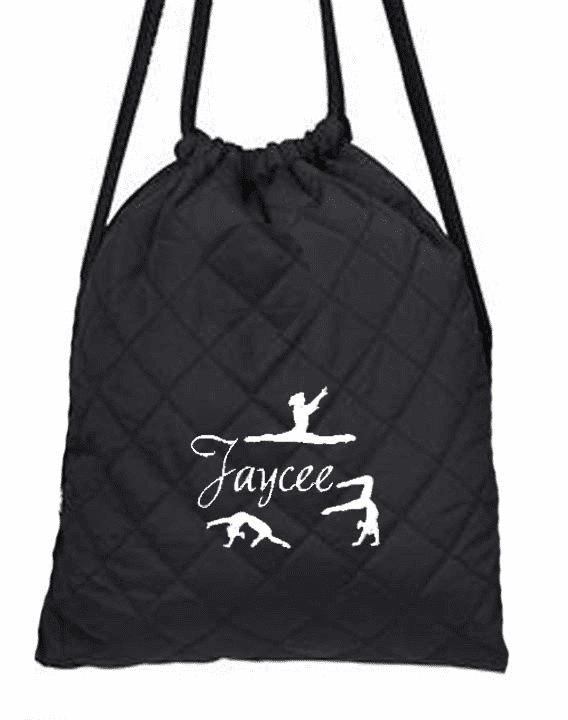 Personalized Black Quilted Gymnastics Backpack/Cinch Pack Embroidered Design