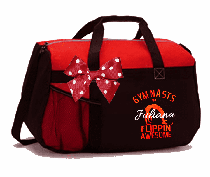 Personalized Black & Red Gymnastics Duffel Bag w/Bow