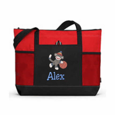 Personalized Black & Red Tote Bag Boys or Girls Sock Monkey Sports