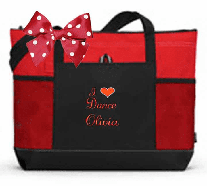 Personalized Black & Red Tote Bag w/Bow Dance Gymnastics Tap Jazz Cheer