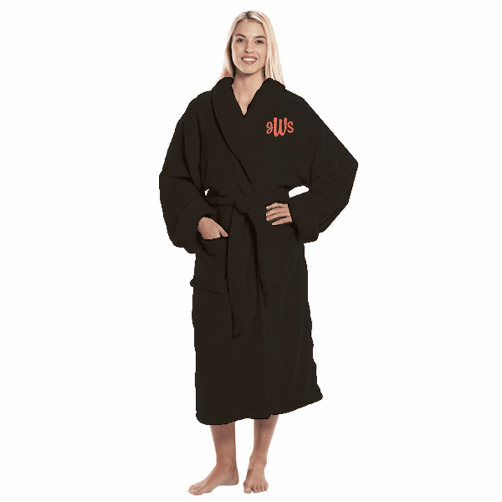 Personalized Black Tahoe Micro Fleece Shawl Collar Robe 48""
